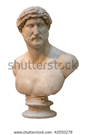 Marble bust of an ancient roman emperor isolated on white - stock photo