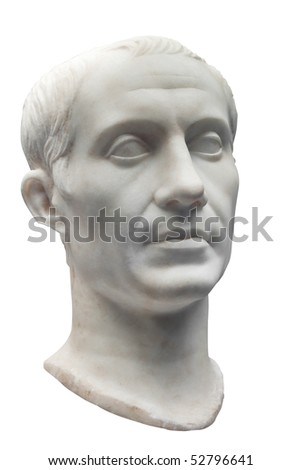 Marble bust of Julius Caesar isolated on white - stock photo