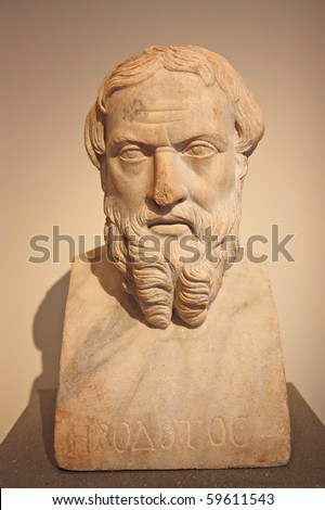 Marble bust of old Greek man - stock photo