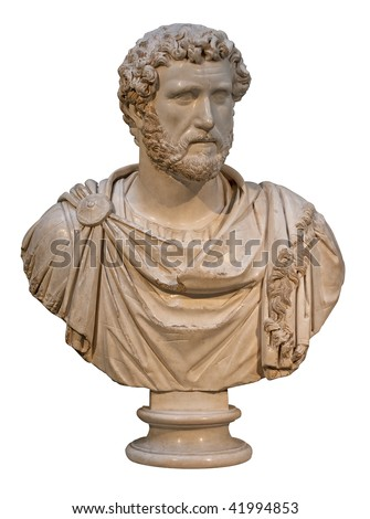 Marble bust of the roman emperor Antoninus Pius isolated on white - stock photo