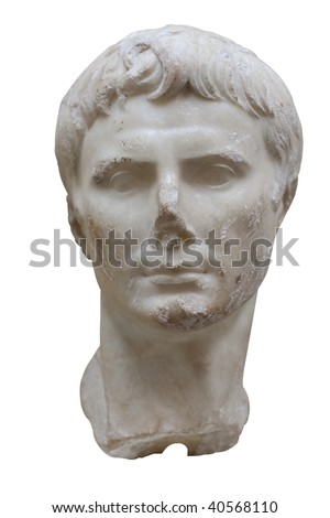 Marble bust of the roman emperor Augustus isolated in white - stock photo