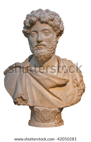 Marble bust of the roman emperor Marcus Aurelius isolated on white - stock photo