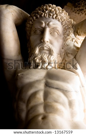 Marble carving of Dionysus, or Bacchus, the Greek god of wine - stock photo