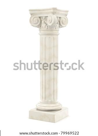 marble column isolated on white - stock photo
