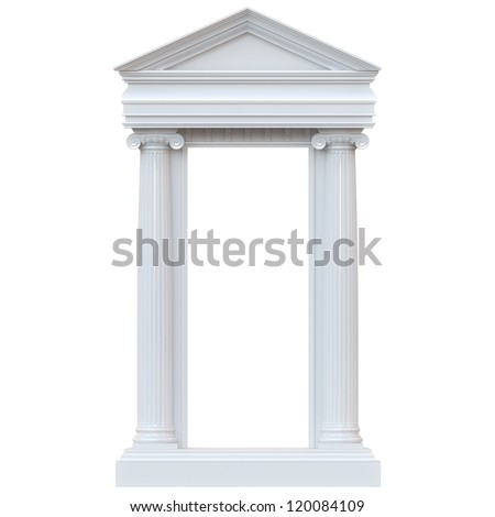 Marble Columns Isolated on white background  (glossy version) - stock photo