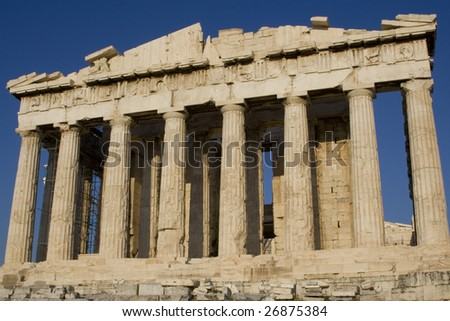 Marble columns  of Athens Parthenon, Greece - stock photo