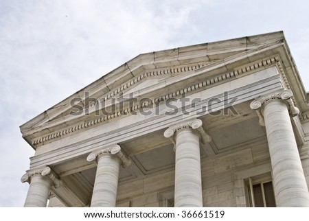 marble columns of court house entrance - stock photo