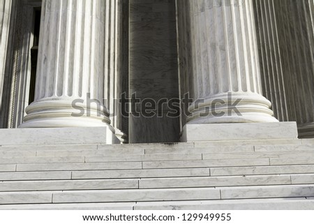 Marble columns, USA Supreme Court building in Washington, D.C.
