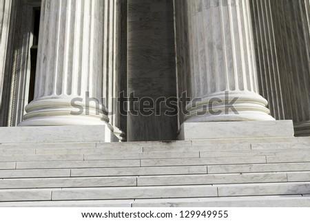 Marble columns, USA Supreme Court building in Washington, D.C. - stock photo