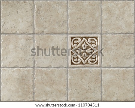 marble decorated background tiles travertine, mosaic - stock photo