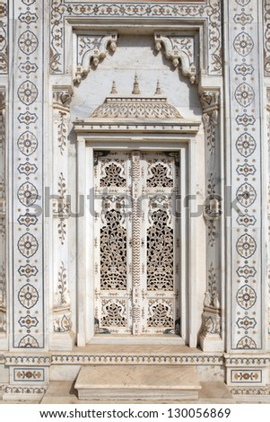 Marble doorway of the cenotaphs at Shivpuri in India.