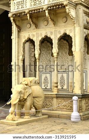 Marble elephants at the Chandra Mahal entrance, City Palace at Pink City, Jaipur, Rajasthan, India. - stock photo