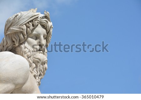 Marble head of River Ganges statue as a greek god, detail from baroque Fountain of Four River in the center of  Piazza Navona Square, Rome (17 th century) - stock photo