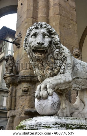 Marble lion statue at the entrance (left side) of Loggia dei Lanzi in Piazza della Signoria suare (Florence), made by artist Flaminio Vacca in 1598