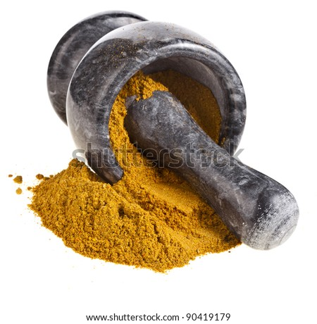 marble mortar with  curry powder  isolated on white - stock photo