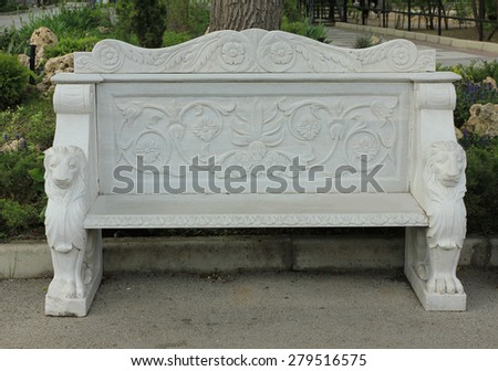 Marble Park Bench - stock photo
