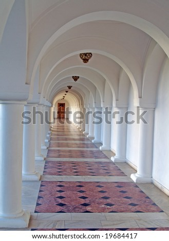 marble path to a door in a romanian monastery