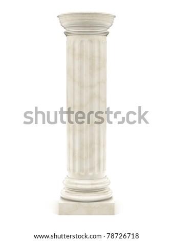 marble pillar isolated on white - stock photo