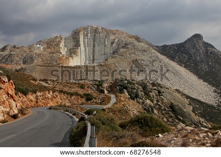 Marble quarry on mountainside in Naxos, Greece.