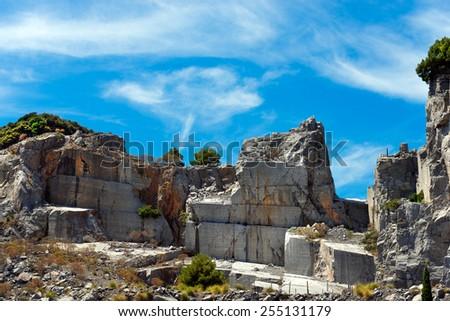 Marble Quarry - Palmaria island Italy. Marble quarry (Portoro) in the island of Palmaria in Portovenere, Liguria, Italy - stock photo