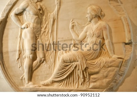 Marble relief of roman couple - Achilles asked the oracle - Excavated at Herculaneum near Pompejii. Both cities near Naples in Italy were destroyed by the eruption of Vesuvius in 79AD. - stock photo