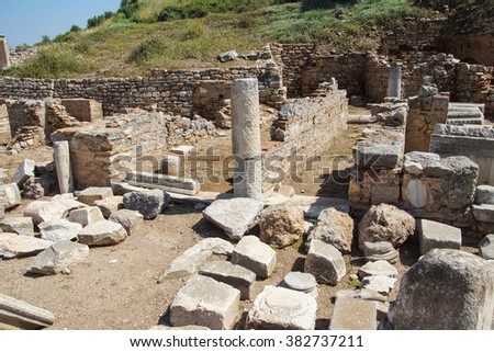Marble ruins of the ancient city of  Ephesus, Turkey