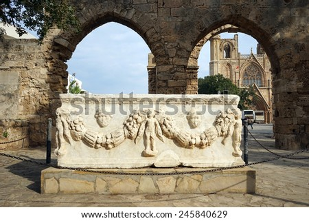 Marble sarcophagus and ruins in Famagusta, North Cyprus                                - stock photo