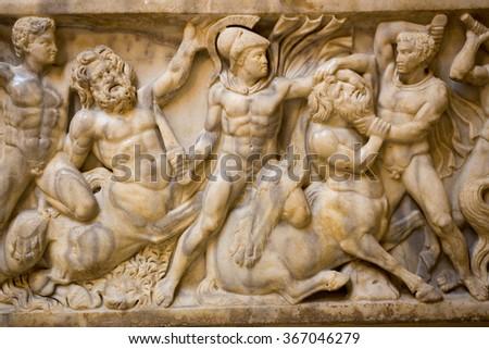marble sarcophagus roman times ostia antica rome - stock photo