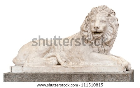 Marble sculpture of a lion on a white background - stock photo