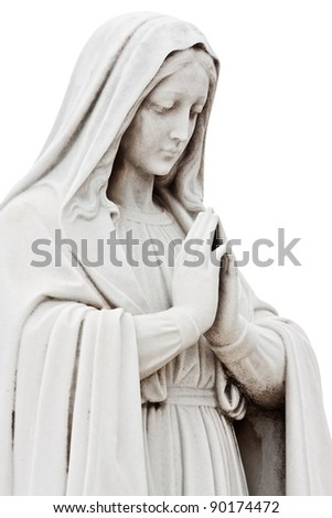 Marble sculpture of a sad woman praying isolated on white with clipping path - stock photo