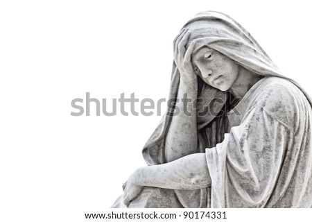 Marble sculpture of a very sad woman isolated on white with clipping path - stock photo