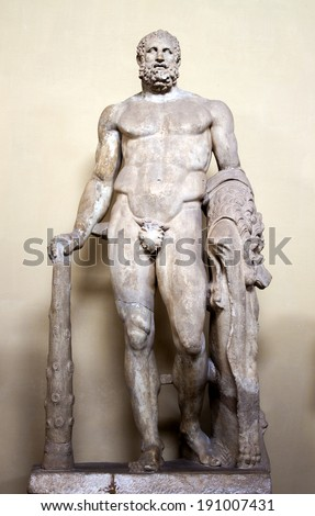 Marble sculpture of Hercules with club - stock photo