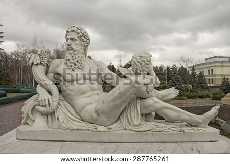 Marble sculpture of Zeus and Cupid, culture of Europe - stock photo