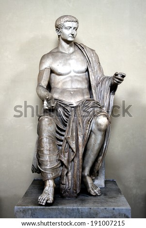 Marble seated figure of Roman emperor Tiberius