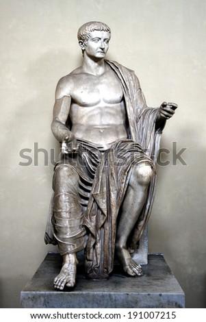 Marble seated figure of Roman emperor Tiberius - stock photo