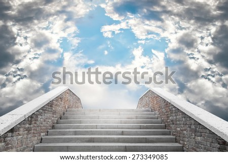 Marble staircase leading to the cloudy sky - stock photo