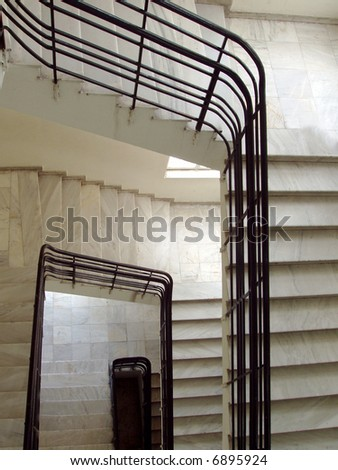 marble stairs and bannister - stock photo