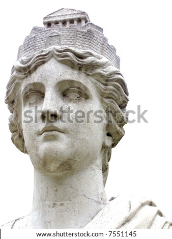 marble statue bust of Athena - stock photo