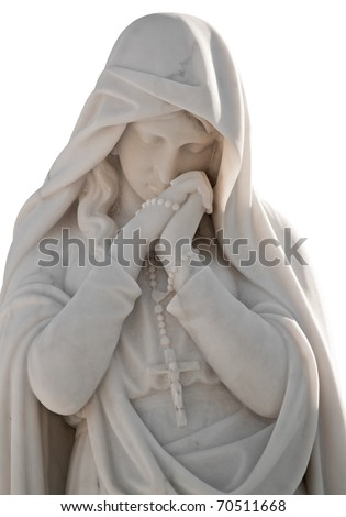 Marble statue of a virgin with a sorrow expression and wearing a christian cross isolated on white with clipping path - stock photo