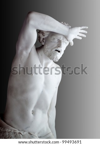 Marble statue of Agony of Cain from Bible. Hermitage in st. Petersburg, Russia - stock photo