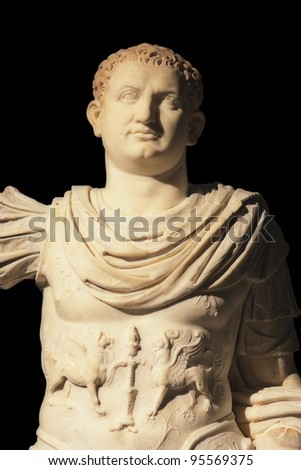 Marble statue of Imperator Titus - Excavated at Herculaneum near Pompejii. Both cities near Naples in Italy were destroyed by the eruption of Vesuvius in 79AD. - stock photo