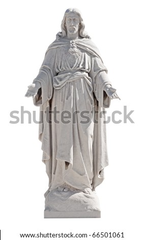 Marble statue of Jesus Christ isolated on white with clipping path - stock photo