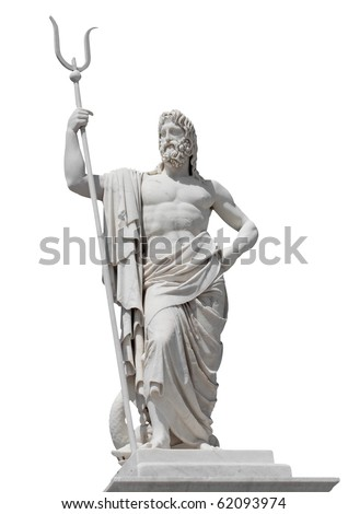 Marble statue of the sea god Neptune isolated on white with clipping path - stock photo