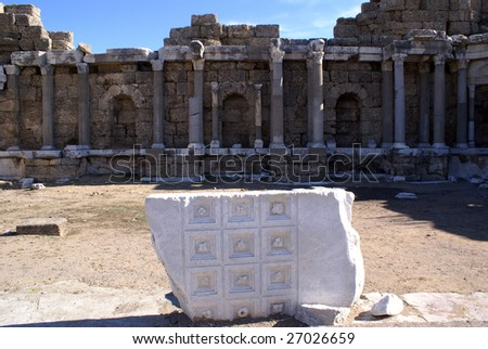 Marble stone and ruins in Side, Turkey