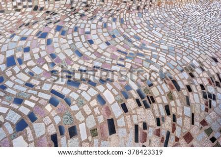 Marble-stone mosaic texture decorate on floor. - stock photo