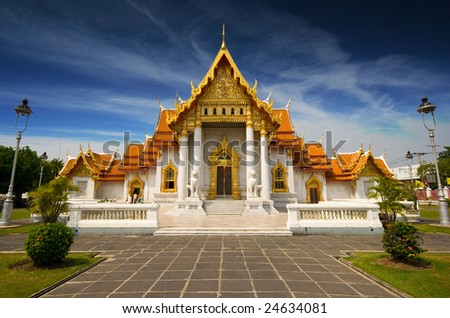 Marble Temple in Bangkok, Thailand - stock photo