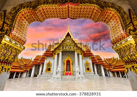 Marble Temple of Bangkok, Thailand. - stock photo