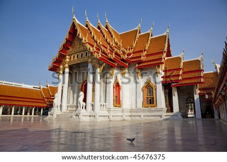 Marble Temple, Wat Benchamabophit, Bangkok, Thailand - stock photo
