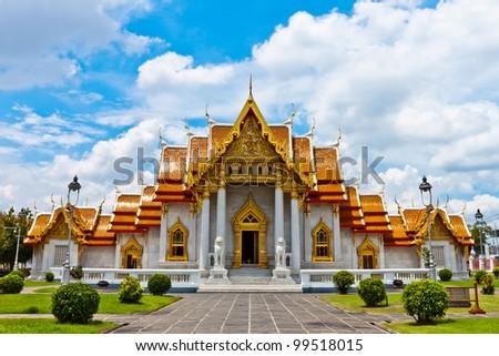 Marble Temple, Wat Benchamabophit, Bangkok, Thailand - stock photo