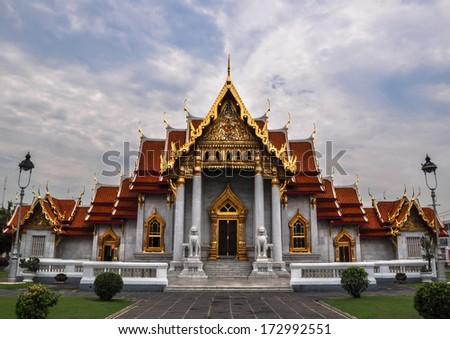 Marble Temple (Wat Benchamabophit Dusitvanaram), tourist attraction, Bangkok, Thailand This is a Buddhist temple - stock photo